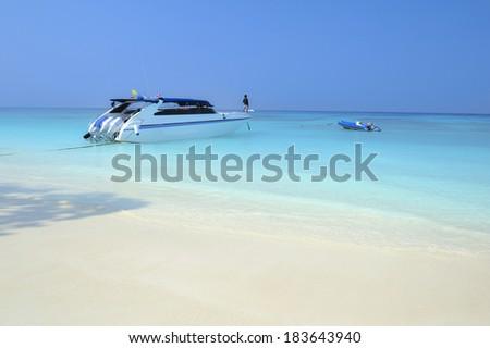 Speed boat for day trip to Koh Tachai Island in Phang Nga Thailand - stock photo