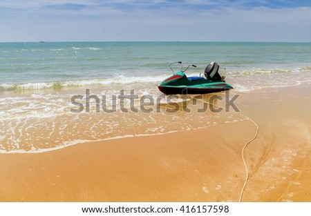 Speed Boat parking on the beach,water scooter parking on beach - stock photo