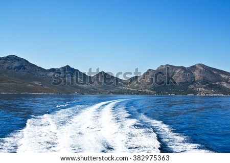 Speed boat trace on water in the Aegean sea. Greece, Europe