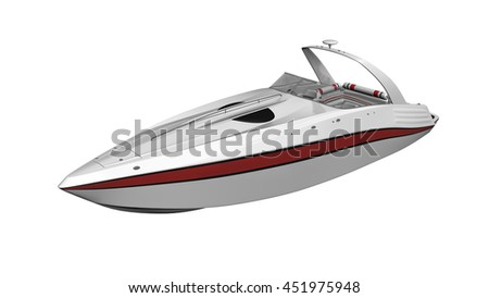 Speed boat, vessel, boat isolated on white background, 3D illustration