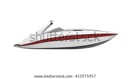 Speed boat, vessel, boat isolated on white background, side view, 3D illustration