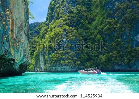 Speed Boat with blue sky in Thailand - stock photo