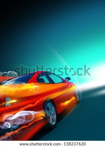 Speed car (HD Render) - stock photo