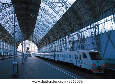speed electric train in a station - stock photo