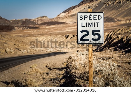 Speed Limit Sign, Death Valley National Park - stock photo
