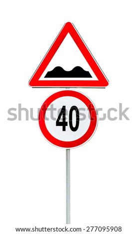 Speed limit sign determining the speed limit 40 and speed bump sign - stock photo