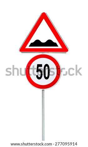 Speed limit sign determining the speed limit 50 and speed bump sign - stock photo
