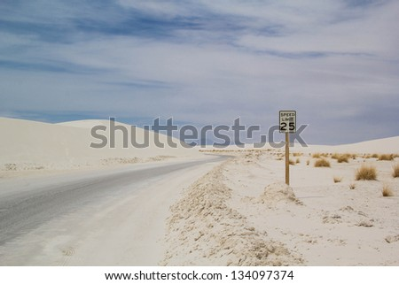 speed limit sign in white sands national monument at New mexico usa park service - stock photo