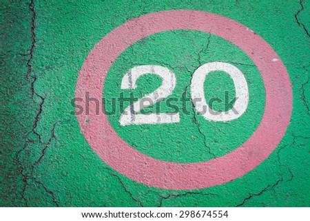 speed limit sign 20 kilometers on bike lane. - stock photo