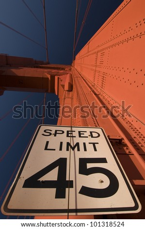 Speed limit sign on Golden Gate Bridge in San Francisco, California