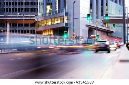 speed morning traffic motion blur in europe - stock photo