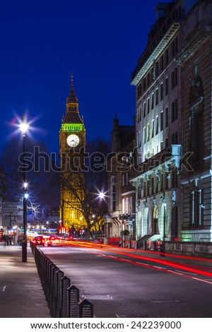 Speed motion at night London, red light - London City Street,  Abstract Light - stock photo