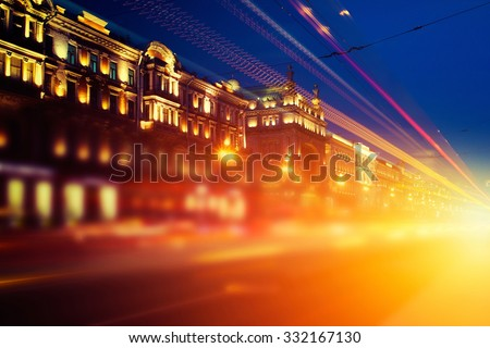 speed motion in the St Petersburg, Russia - stock photo