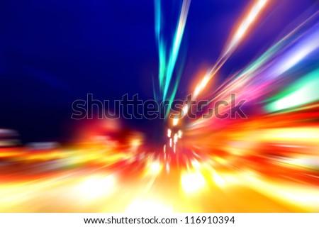 speed motion on night street - stock photo