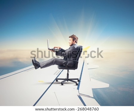 Speed of internet as the aircraft power - stock photo