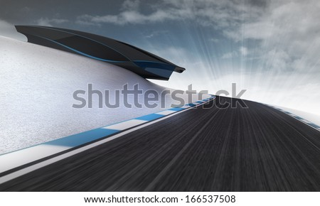 speed racetrack leading under futuristic building with sky wallpaper illustration - stock photo