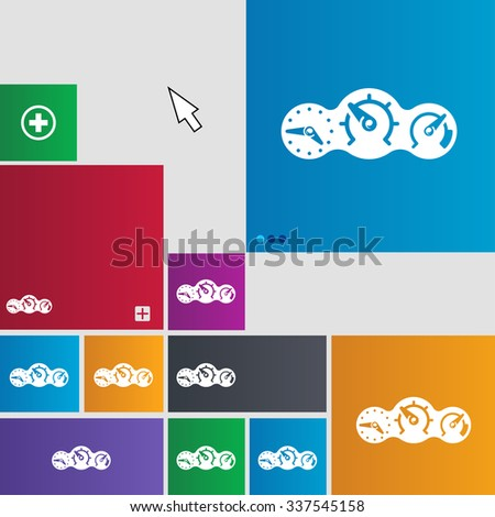speed, speedometer icon sign. buttons. Modern interface website buttons with cursor pointer. illustration - stock photo