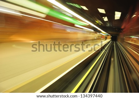 speed subway tunnels, lights and colors - stock photo