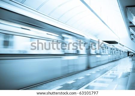 Speed train subway - stock photo