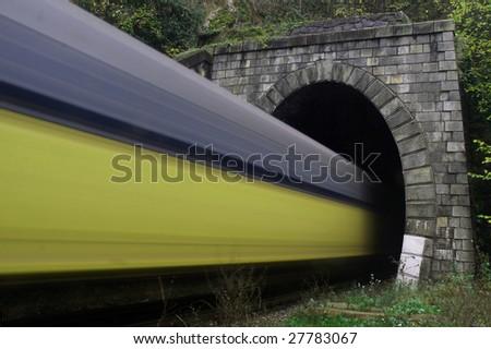 Speed - Train tunnel - stock photo