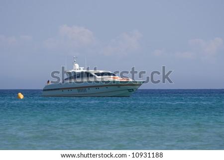 speedboat at anchor - saint-tropez, french riviera - stock photo