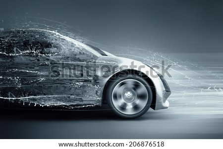 speeding abstract car - stock photo