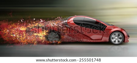 speeding car disintegrating - stock photo
