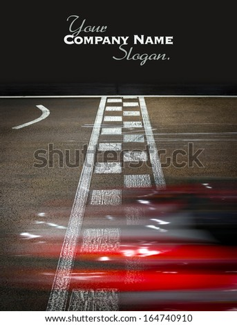 Speeding car on a kart race - stock photo