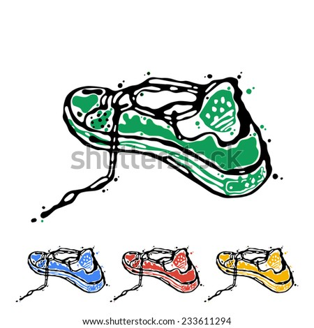 Speeding sports shoes, logo icons for running, sneakers are presented in four colors green, blue, red yellow. Abstract art drawing executed in ink and pencil. Illustration silhouette on white. - stock photo