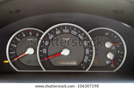 Speedometer and other gauges in the car - stock photo