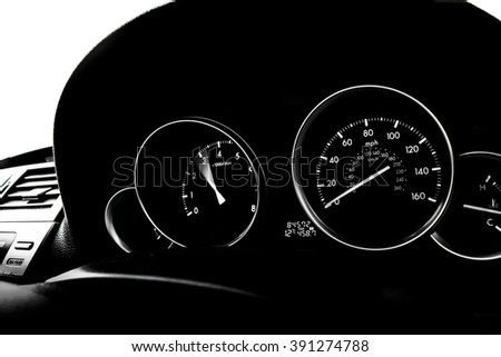 Speedometer and RPM - car dashboard - stock photo