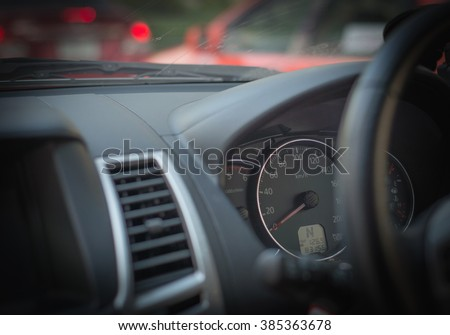 Speedometer and tachometer gauges,Auto interior detail. - stock photo