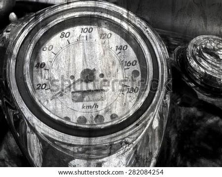 speedometer Grunge vintage abstract rusty - stock photo