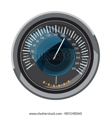 Speedometer icon in cartoon style isolated on white background. Speed measurement symbol