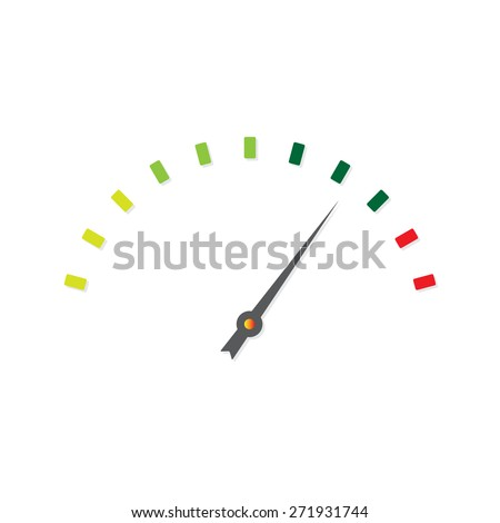 Speedometer icon or sign with arrow. Colorful Infographic gauge element.  - stock photo