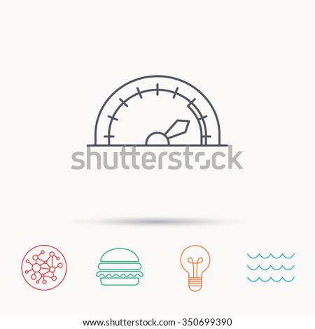 Speedometer icon. Speed tachometer with arrow sign. Global connect network, ocean wave and burger icons. Lightbulb lamp symbol. - stock photo