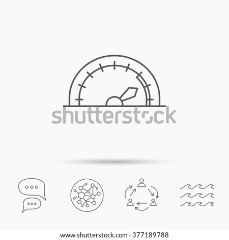 Speedometer icon. Speed tachometer with arrow sign. Global connect network, ocean wave and chat dialog icons. Teamwork symbol. - stock photo