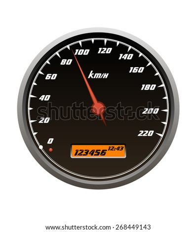 Speedometer icons showing a car traveling within the speed isolated on white