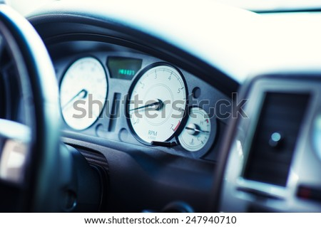 speedometer in the car - stock photo