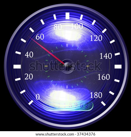 Speedometer isolated on a solid black background - stock photo