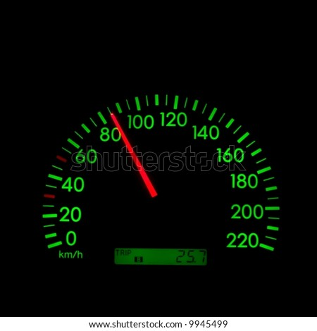 Speedometer of a car showing 85