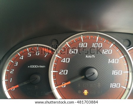 Speedometer of car illuminated