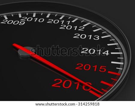speedometer on black background. 3D image - stock photo