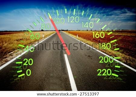 Speedometer over empty road landscape - stock photo