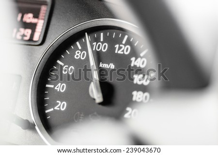 Speedometer passenger car showing 90 kilometers per hour - stock photo