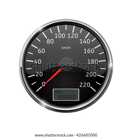 Speedometer. Realistic illustration, with chrome frame. Raster version