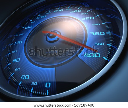 Speedometer scoring high speed. The limit of speed. - stock photo