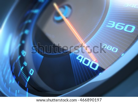 Speedometer scoring the fastest speed. Depth of field with focus on 400.