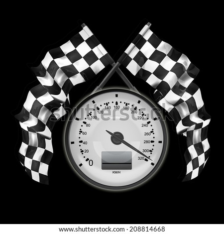 Speedometer Two crossed checkered flags isolated on black background High resolution 3d render  - stock photo