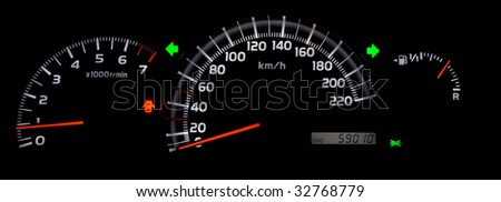 Speedometer with flashes on - stock photo